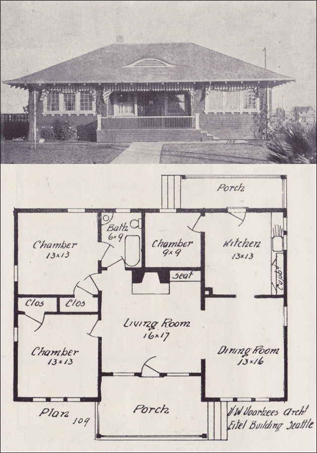 1908 hip roofed bungalow plan western home builder for Old bungalow house plans