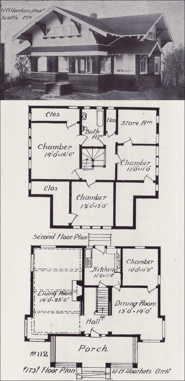 1908 swiss chalet bungalow western home builder victor voorhees seattle no 112 - Swiss style house plans ...