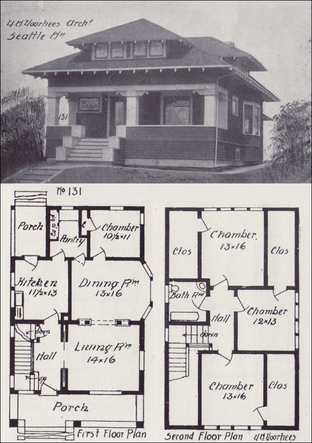 1908 hip roofed craftsman bungalow plan vintage seattle for Historic farmhouse floor plans