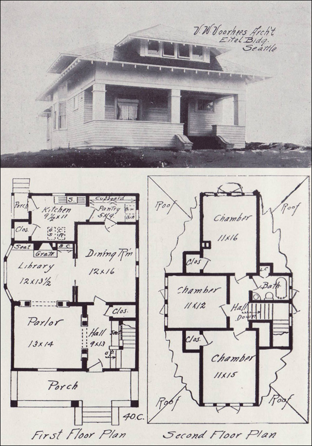 1908 hip roofed transitional bungalow plan vintage for Old bungalow house plans