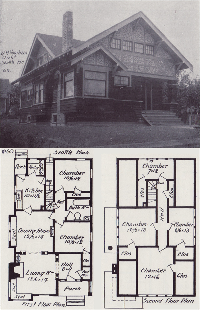 1908 tudor style bungalow plan western home builder for Western home plans