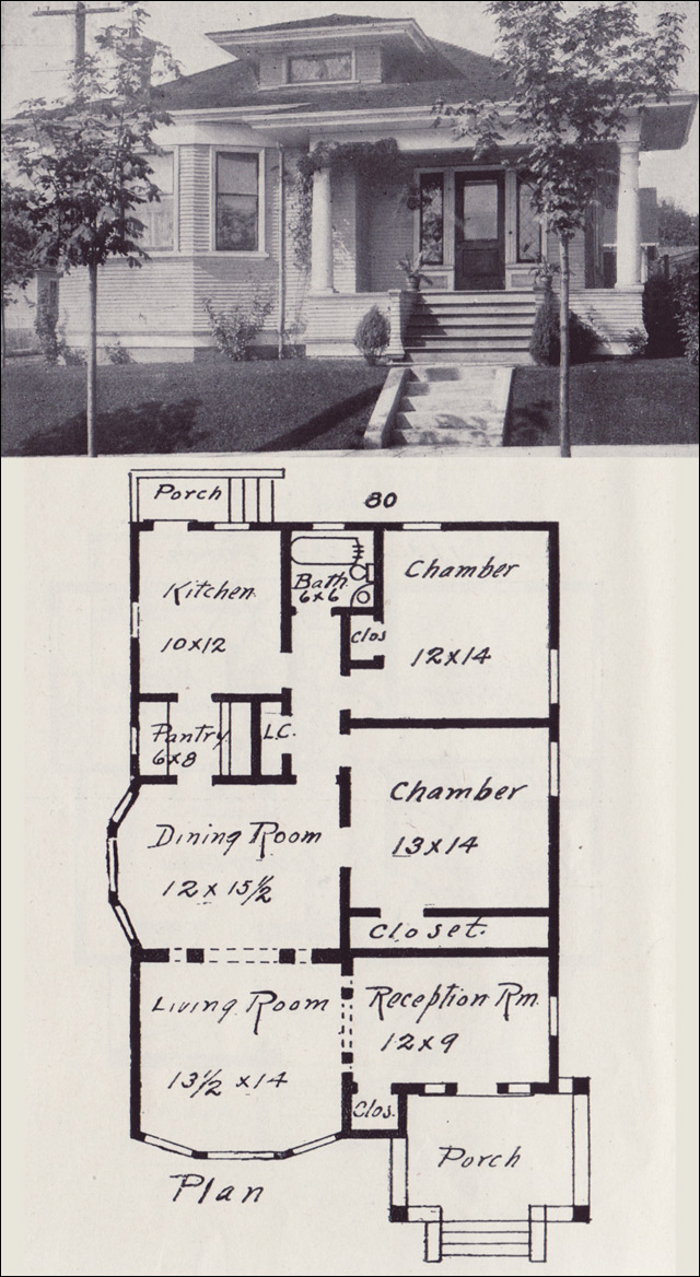1908 Hip Gabled Classical Revival Bungalow Plan Western