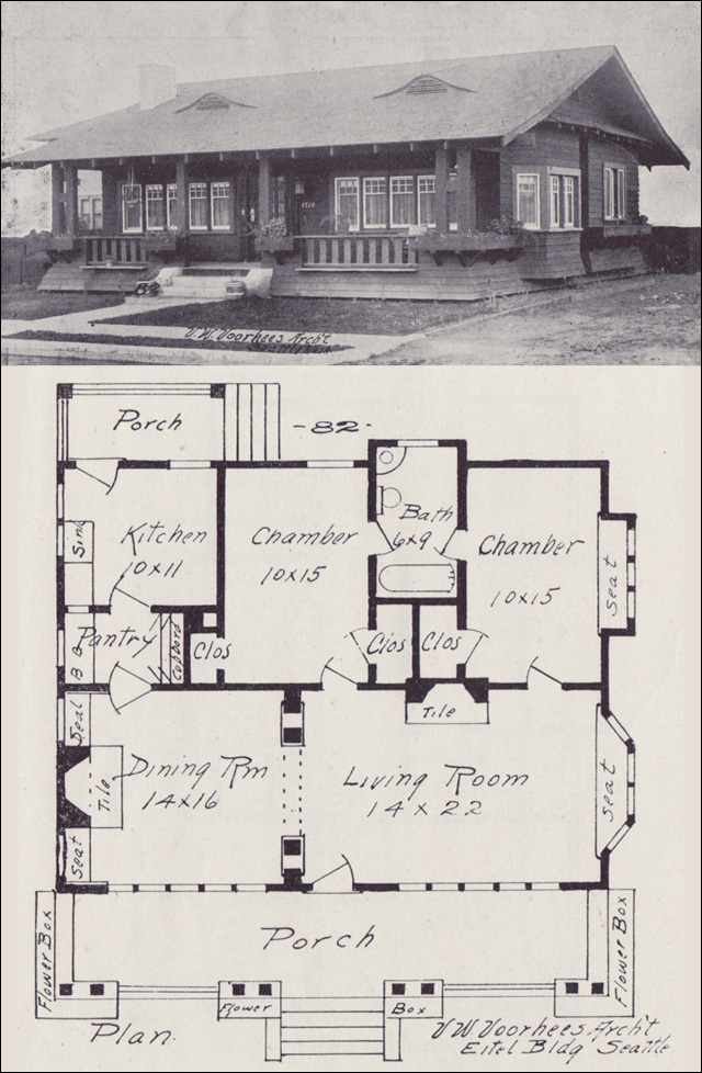 1908 Side gabled Craftsman style Bungalow Plan Vintage