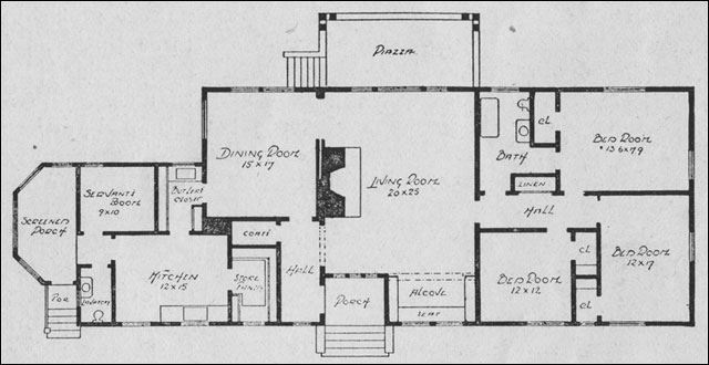 Planning the bungalow henry l saylor 1911 house for Rectangular house design