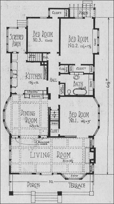 Planning the bungalow henry l saylor 1911 house for Narrow bungalow house plans