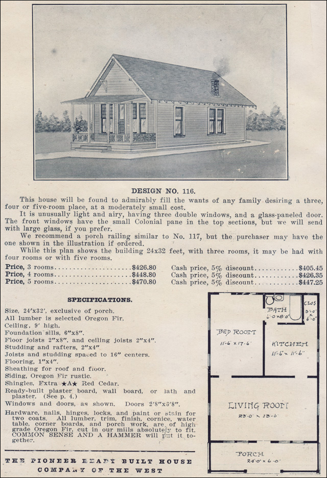 Bungalow forward gable cottage style plan no 116 for Ready built homes floor plans