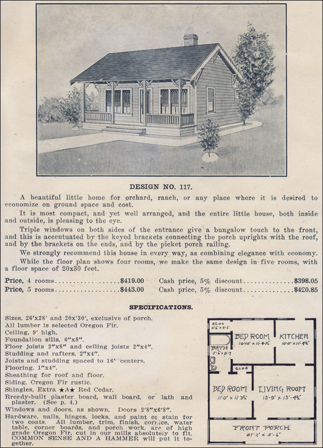 1915 tiny side gabled bungalow ready built house plan for Ready built homes floor plans