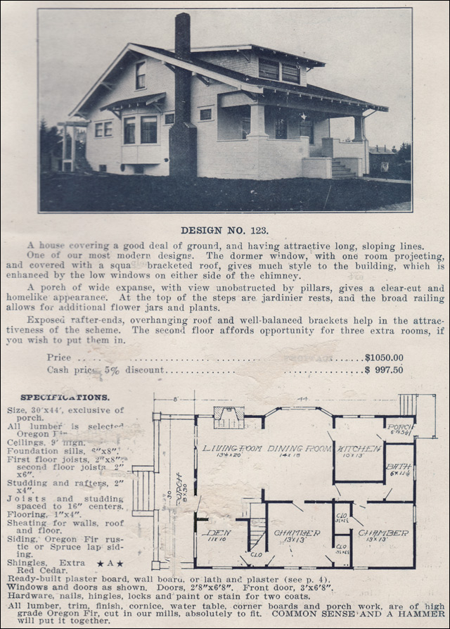 1915 Side Gabled Classic Craftsman Bungalow Plans By The