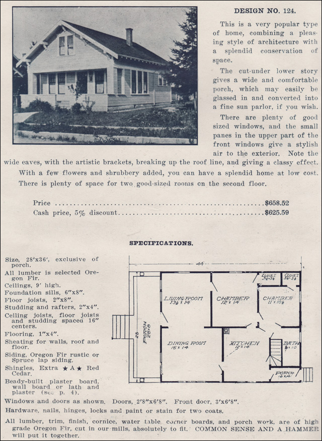 1915 bunglow house plan no 124 forward gable ready for Ready built homes floor plans