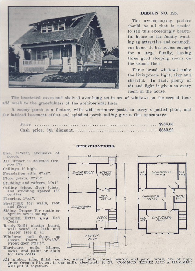 Plan no 125 the ready built house company classic for Oregon house plans