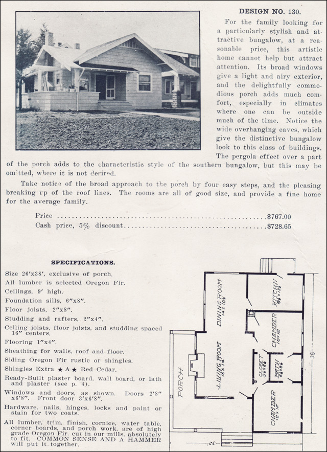 Cross gabled bungalow no 130 1915 plans by the ready for Ready built homes floor plans