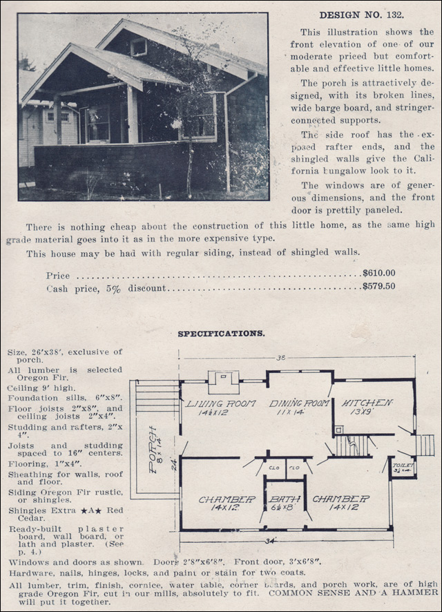 1915 bungalow cottage house plans by the ready built for Ready built homes floor plans