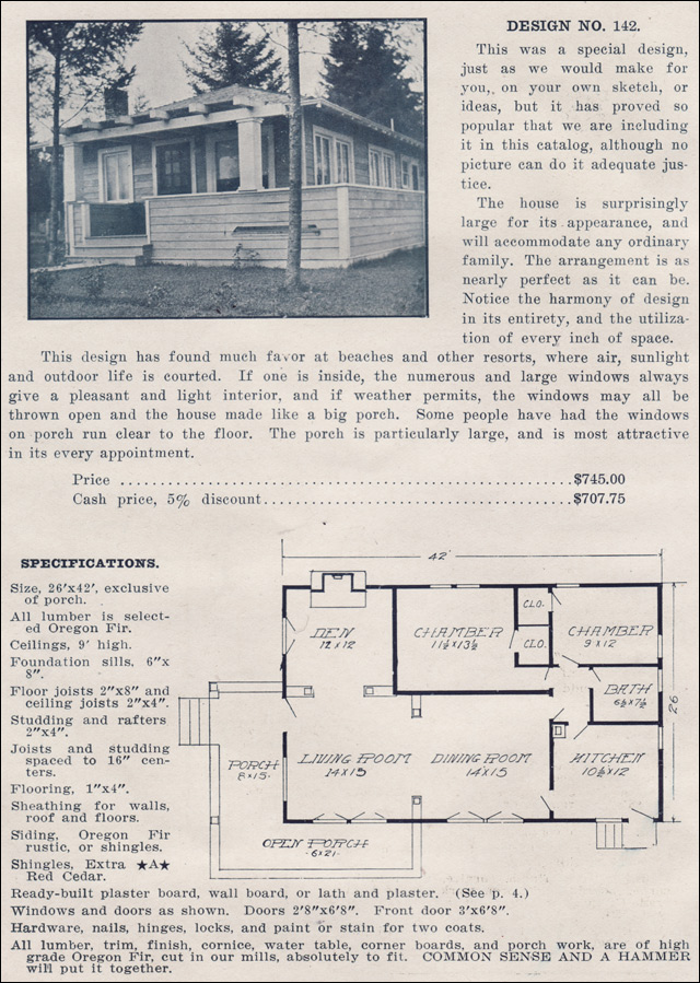 1915 hip roofed bungalow with pergola ready built house for Pre made house plans