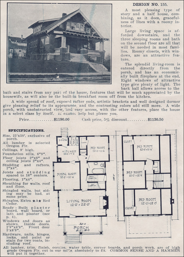 1915 artistic craftsman style bungalow home plan no 155 for Ready built homes floor plans