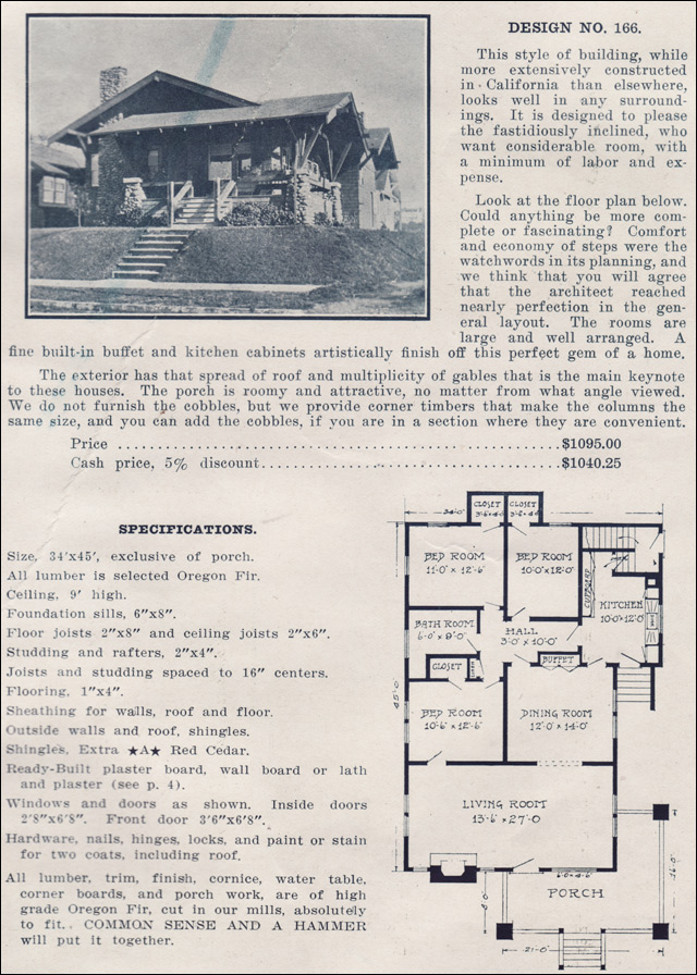 Cross gabled craftsman style bungalow no 166 1915 for Ready built homes floor plans