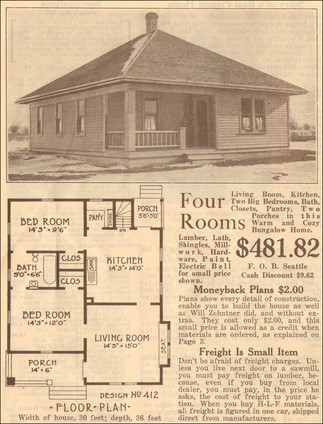 1915 hewitt lea funck company prize plan book plan no 412 for Bungalow company plans