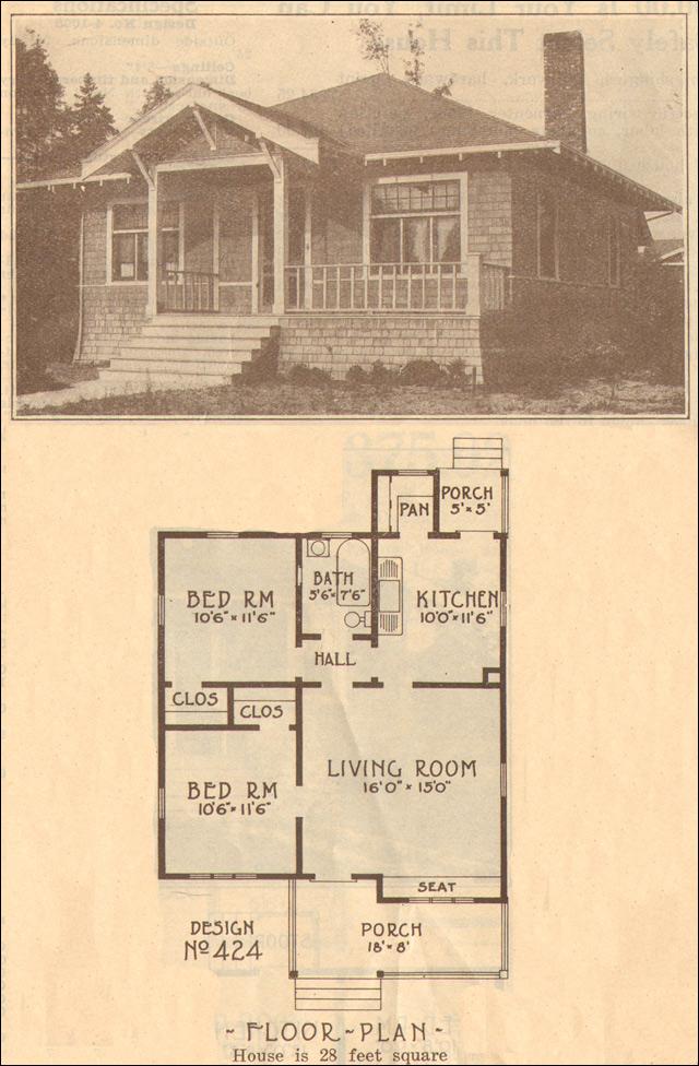 1915 Bungalow Home Plan No 424 Hewitt Lea Funck Company