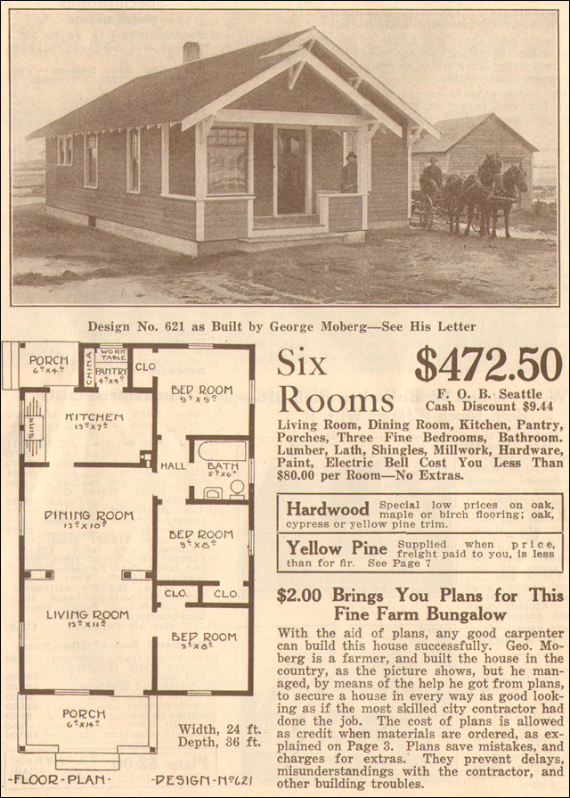 1915 bungalow classic hewitt lea funck co no 621 for Classic bungalow house plans