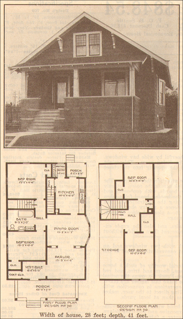 1915 bungalow classic hewitt lea funck co facing gable Classic bungalow house plans