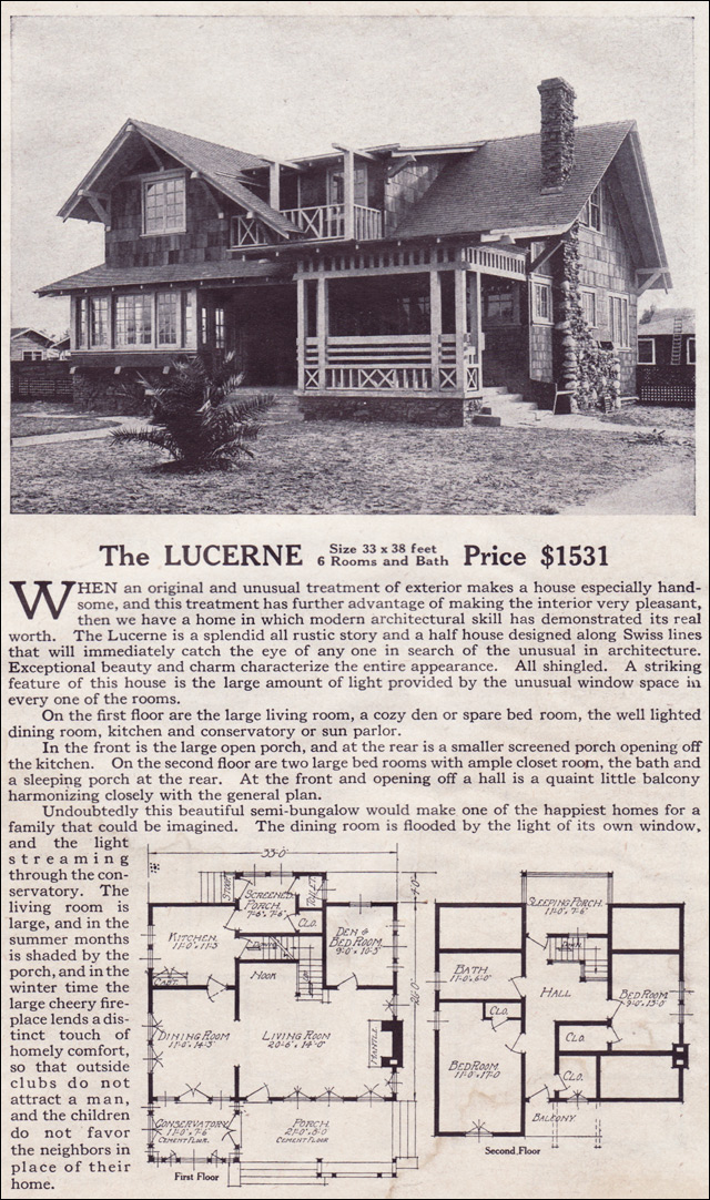 The lucerne modern bungalow style of the 1910s swiss chalet lewis manufacturing kit homes - Swiss style house plans ...