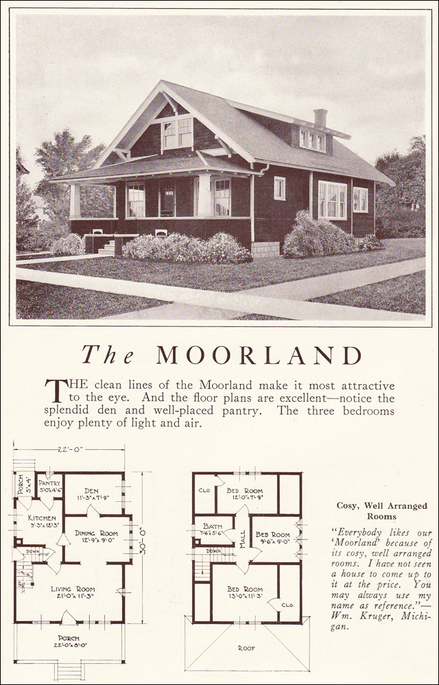 Classic bungalow 1922 moorland lewis manufacturing Classic bungalow house plans