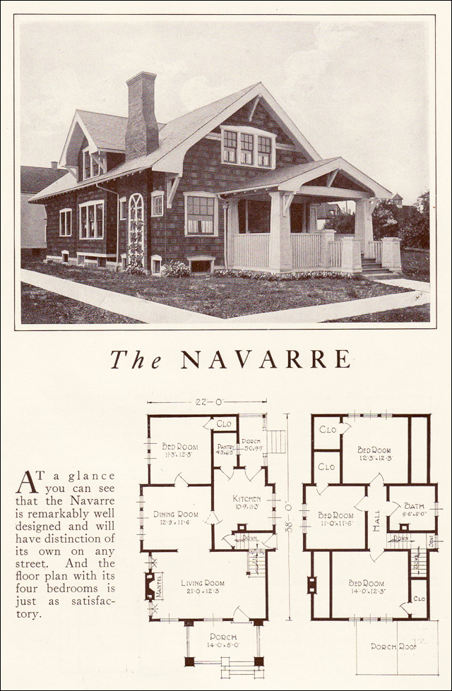 Lewis manufacturing 1922 navarre for Bungalow company plans