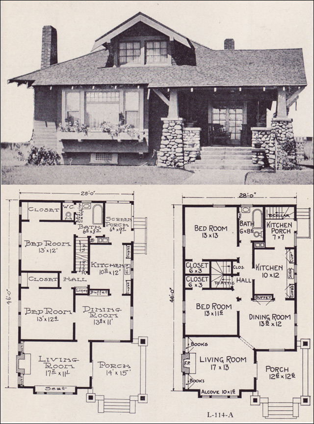 1922 craftsman style bunglow house plan no l 114 e w for Craftsman cottage style house plans