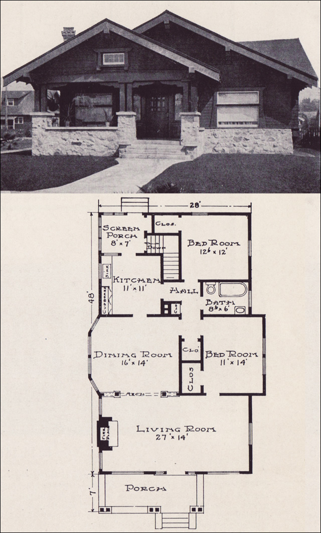 Plan no l 115 e w stillwell co craftsman style for Japanese bungalow house design