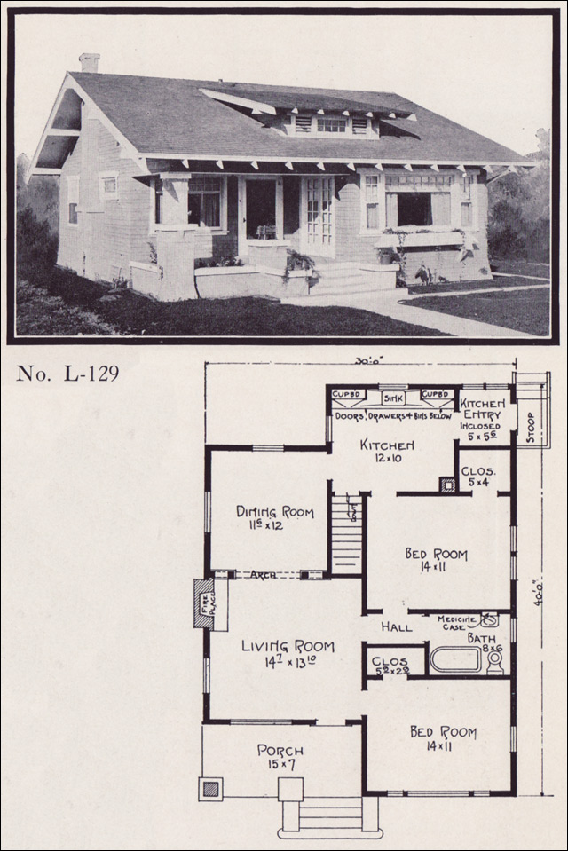 Bungalow craftsman house plans 1920s for 1920 bungalow house plans