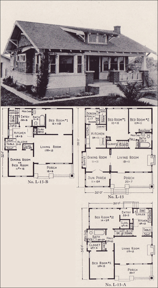 1922 classic california style bungalow house plans e w for Home plans california