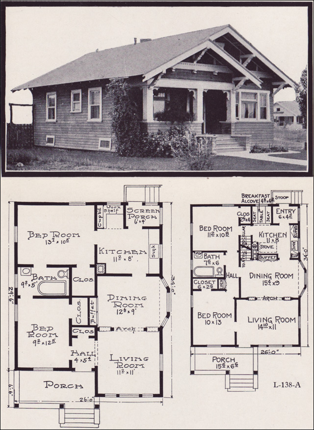 1920s craftsman bungalow house plans for Bungalow house plans alberta