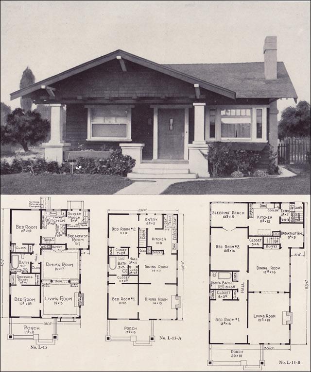 1920s bungalow forward gable cottage style plan no l for 1920 s craftsman bungalow house plans
