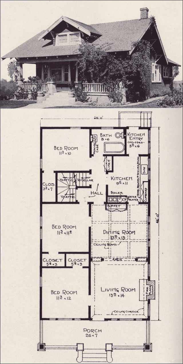 1922 classic bungalow with gabled dormer stillwell Classic bungalow house plans