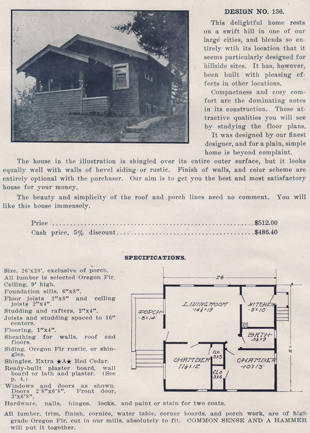 1910s Bungalow Kit Homes by Ready Built House Company - No  136